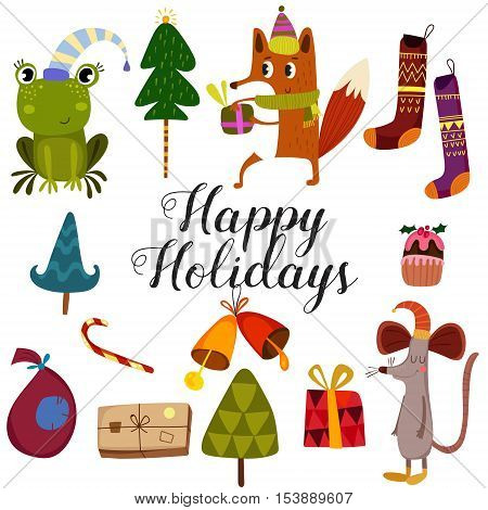 Winter Set-happy Holidays Card.stylish Holiday Card With Cute Fox,frog And Mouse In Vector. Bright C