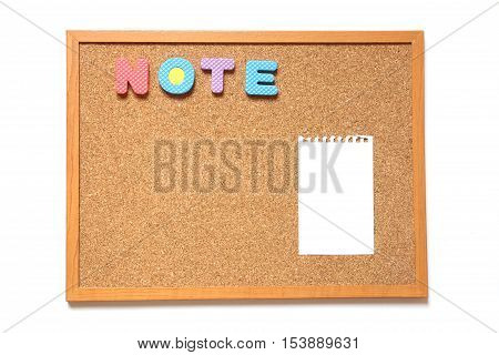 Corkboard with paper and wording note placed on white background
