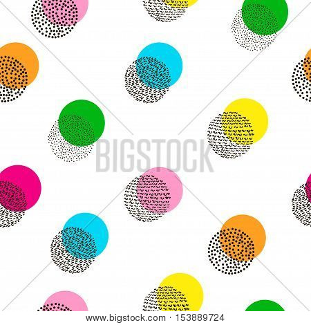 Circles colorful seamless pattern. Bright background. 80's - 90's years design style. Trendy.