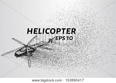 The helicopter of the particles. The silhouette of the helicopter consists of small circles and dots.