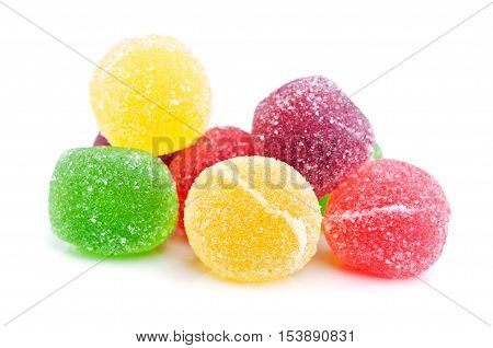 colorful candy gelatin isolated on white background