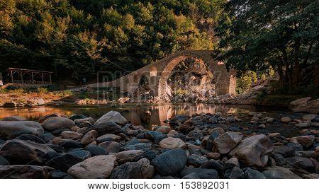 The Devil's Bridge at the summer, near the village of Ardino, Bulgaria