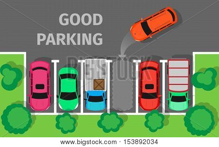 City parking vector web banner. Flat style. Shortage parking spaces. Large number of cars in a crowded parking. Urban infrastructure and car boom. Good parking