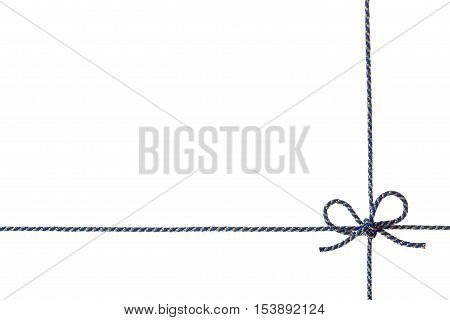Blue string tied in a bow isolated on white background for your design. Holiday gift or present concept.