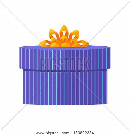 Single blue gift box with yellow ribbon in flat design. Beautiful present box with overwhelming bow. Gift box icon. Gift symbol. Christmas gift box. Isolated vector illustration