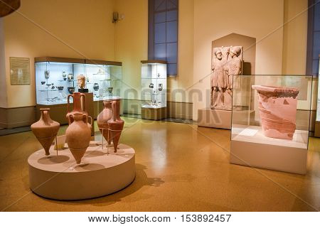 Moscow, Russia - October 04, 2016 - Exhibition in Pushkin state museum of fine arts. Interior of the hall of ancient Northern Black Sea art.