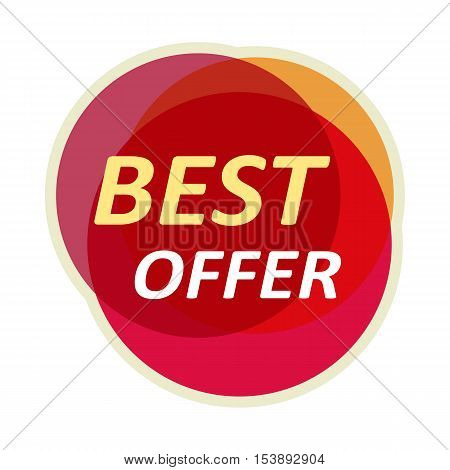 Sale sticker vector illustration. Flat style. Round bright sticker with best offer text. For store goods sales and discounts advertising. Product label design. Black friday. On white background