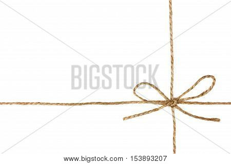 String or twine tied in a bow isolated on white background. Holiday gift or present concept. poster