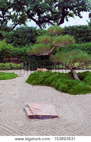 Raked sand beside manicured plants and trees taken in a Zen Meditation Garden