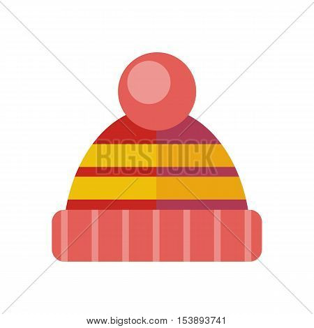 Winter red hat icon. Knitted winter cap. Head covering worn to protect against cold. Fashion accessory. Skier hat. Winter hat and cap. Flat icon winter hat cap. Sheep wool hat. Vector illustration