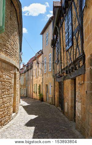 An ancient street in Montignac at the shore of Vezere River in Dordogne-Perigord France