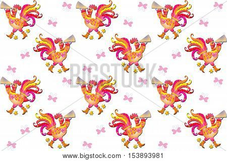 Seamless pattern with cute cartoon yellow and pink cockerels and butterflies. Year of the rooster. Beautiful vector background. Chinese symbol of 2017. Print for fabric.