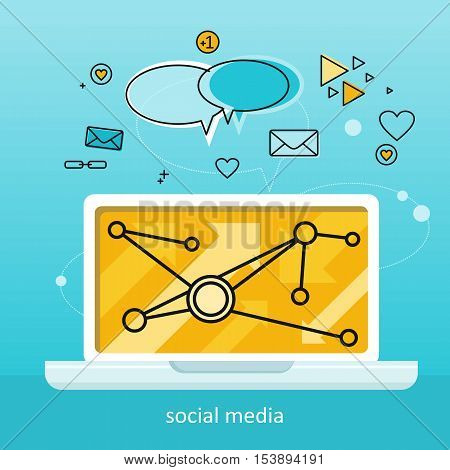 Laptop with infographics on screen. Laptop with infographics on blue background. Concept of social media, online business, commerce algorithm, business analysis, information. Business background