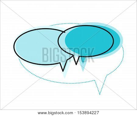 Blue dialog windows icon. Dialog icon. Chat icon. Online communication element. Design element, sign, symbol, icon in flat. Isolated object on white background. Vector illustration.