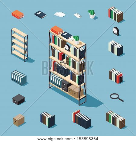 Bookcase vector isometric concept illustration. Decorated bookcase plus collection of isometric objects: stack of books standing book bookcase clocks magnifier folder plant letter papers box.