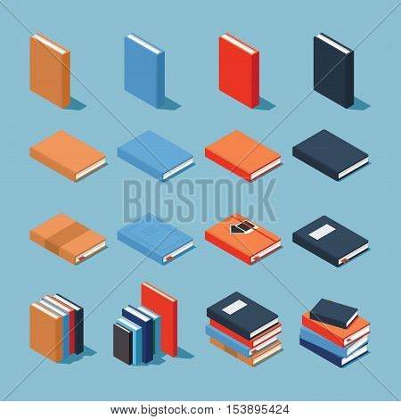 Vector isometric set of books. Collection of differently colored and designed books - standing book, books on the side, books with decorated covers and stacks of books.