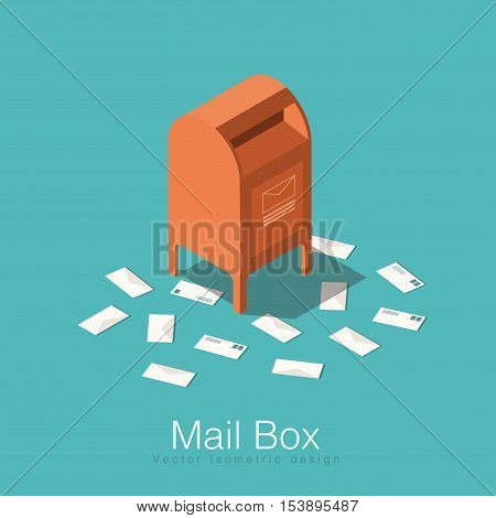 Mail box isometric vector illustration. Red mail box with envelopes laying around. Concept design for your poster card or any web material.