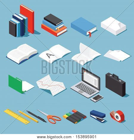 Isometric office tools & stationery set: paper books folder pen and pencil scissors laptop stapler tape case diagram open book and notebook. Base for your business / education illustration.
