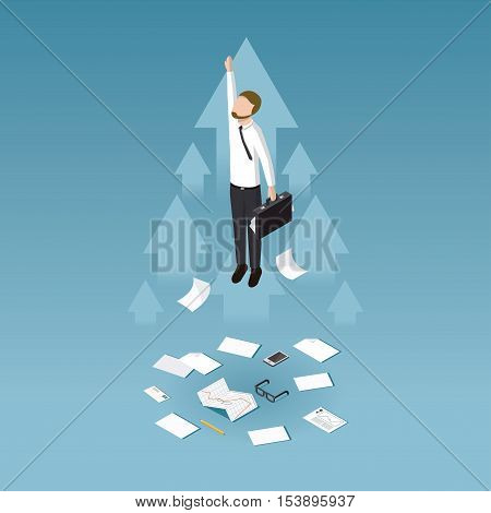 Profit increase and business success isometric concept vector illustration. Business man has unexpected a big profit and got his business extended.