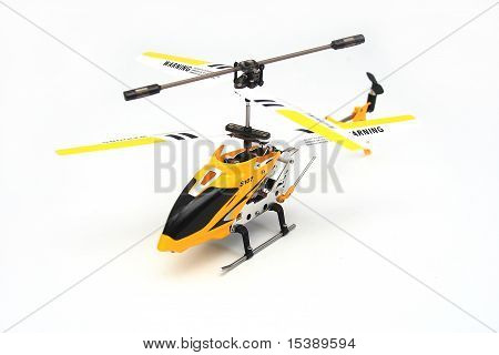 Isolated Yellow Remote Controlled Helicopter