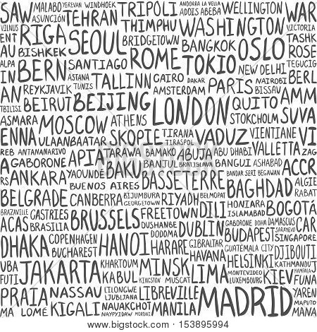 Seamless pattern - greatest cities in the world. Capitals background