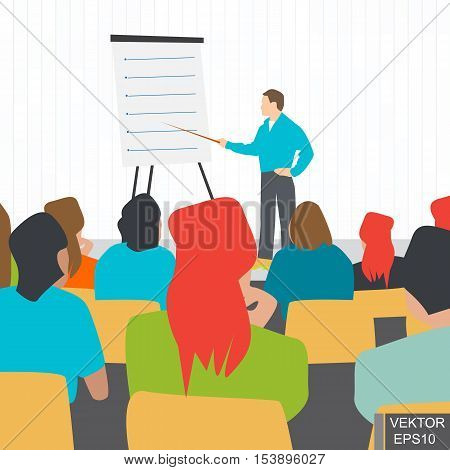 Lecture. Education in the audience. A meeting. Training. Discussion. Concept of success. For your design.