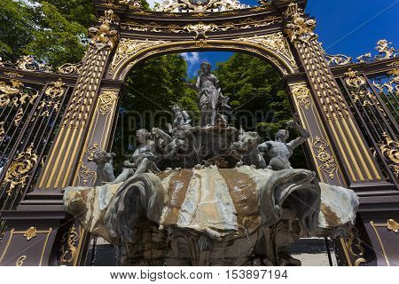 Neptune's fountain by Barthelemy Guibal Stanislas square Nancy Meurthe-et-Moselle Alsace-Champagne-Ardenne-Lorraine France