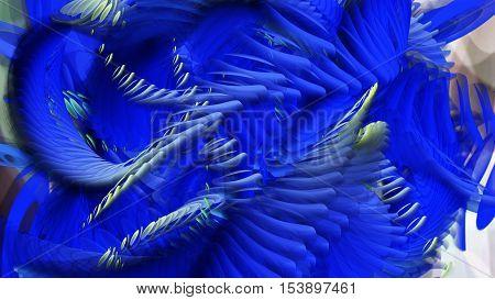 Digital Illustration Of Swirling Blue Shapes