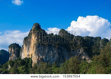 Amazing view of huge rocks with blue sky and big clound on a sunny day - Krabi, Thailand