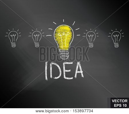 Light bulb. Drawing with chalk on the blackboard. Successful idea. For your design.