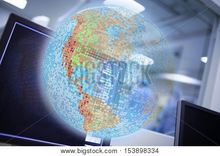 Digital globe projection concept of world health care.