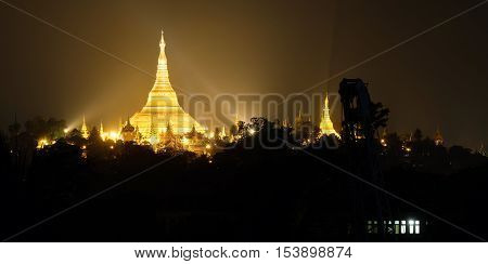 Shwedagon Pagoda at night, one of the most famous Golden Pagoda in Yangon, Myanmar