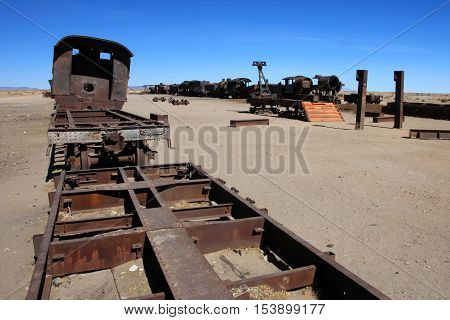 Graveyard of rusty old trains in the desert of Uyuni, Bolivia