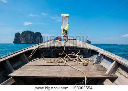 Prow of long tail boat with view of beautiful sea in Krabi, Thailand