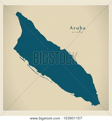 Modern Map - Aruba AW vector high res