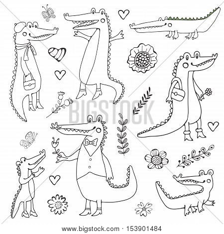 Cute collection of hand draw crocodiles. Illustration in vector format