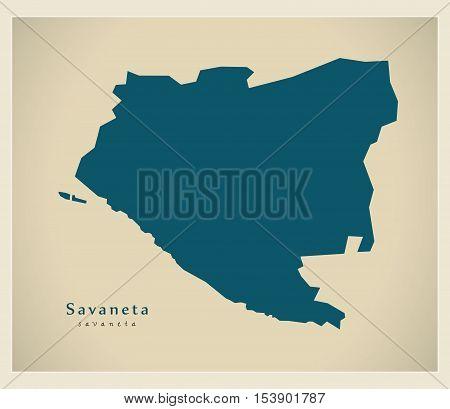 Modern Map - Savaneta AW Aruba vector