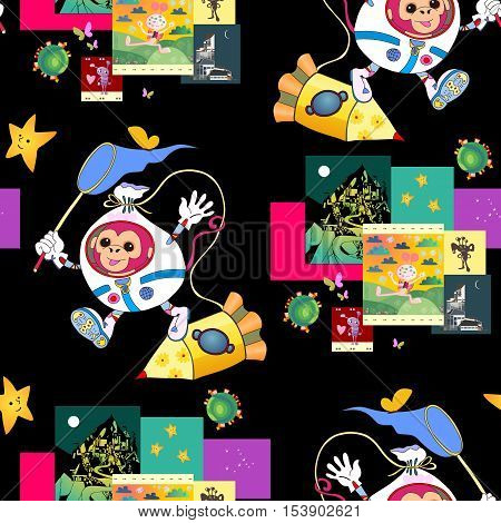 Fantastic print for children with cute monkey astronaut, spacecraft and funny pictures with aliens. Bright seamless vector background.