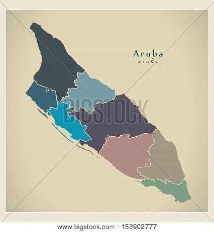 Modern Map - Aruba with regions colored AW vector