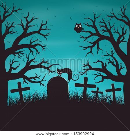 Halloween night background in wood on an old graveyard with cat on tombstone. Gloomy blue background with trees bat owls.