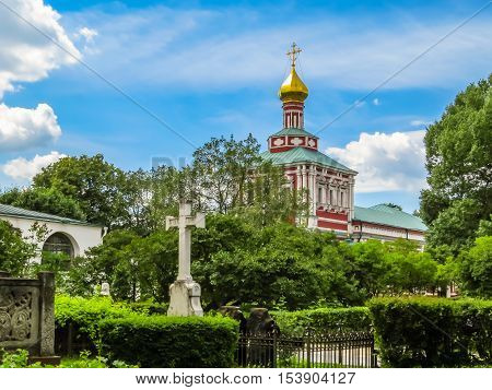 MOSCOW, RUSSIA - JUNE 25, 2016: Church of the Dormition of the Theotokos, Novodevichy Convent or New Maidens' Monastery