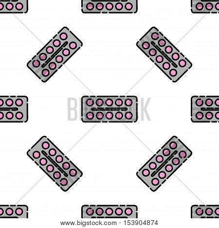 Allergy flat pattern. Disease state, watering, allergy tablets, the appearance of red spots and other. Vector illustration EPS 10