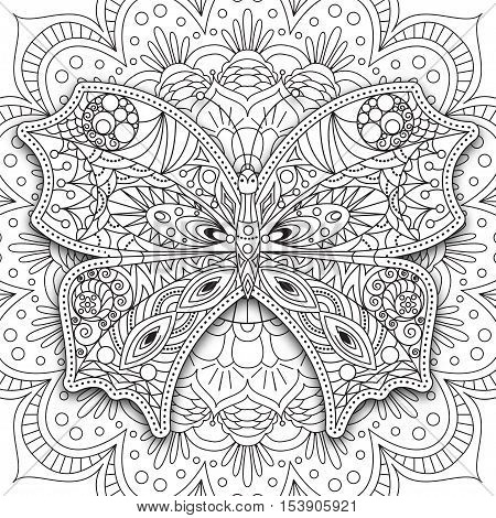 Butterfly. Hand drawn ethnic Printable vector in doodle style. Coloring book page for adults and older children - mandala, design for relax and meditation, vector illustration