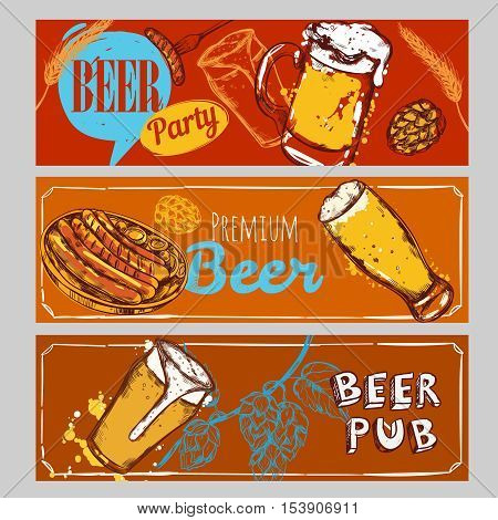 Three horizontal beer banner set with beer party premium beer beer pub descriptions vector illustration