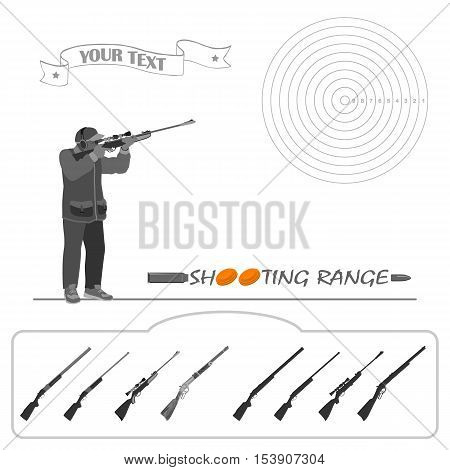 The man is standing with a rifle and shoot at the target. rifle, bullets, plates and target for marksmanship