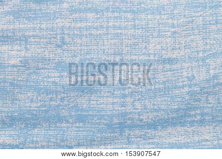 Fabric Texture Close Up of Grung White and Blue Textile Pattern Background.
