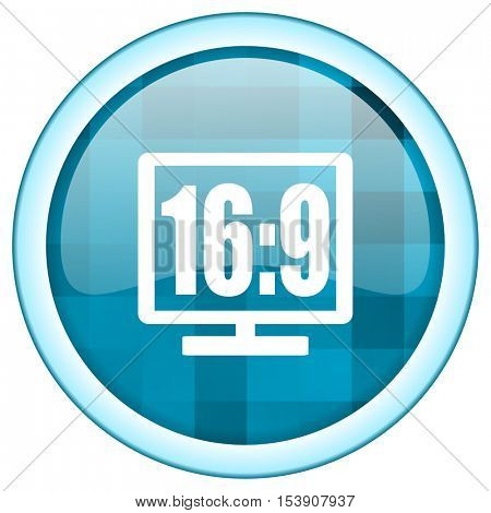 Blue circle vector  icon. Round internet glossy button. Webdesign graphic element.