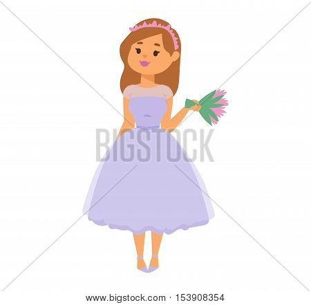 Bride girl in wediing dress isolated on white. Bride girl model bridal pretty glamour romantic lady. Woman wearing wedding white dress fashion girl luxury young person character vector.
