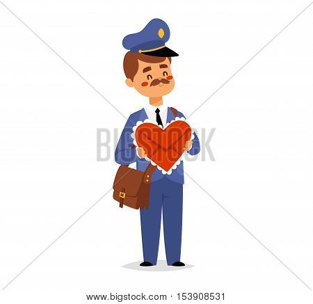 Postman character vector courier occupation carrier. Cute man delivery package transportation courier postman character. Mail business shipping man postman character message deliver.