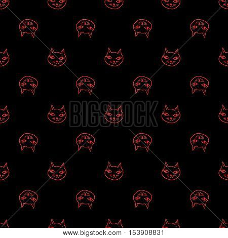 Black cat with red eyes, witches and witchcraft symbol. Halloween seamless pattern